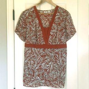 Cato burnt orange empire waist print tunic